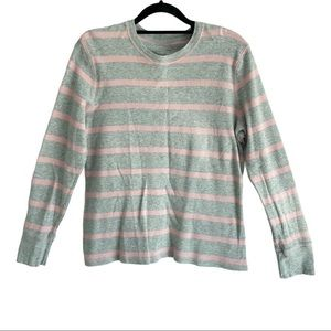 Sonoma Waffle Knit Gray Pink Thermal Long Sleeve M